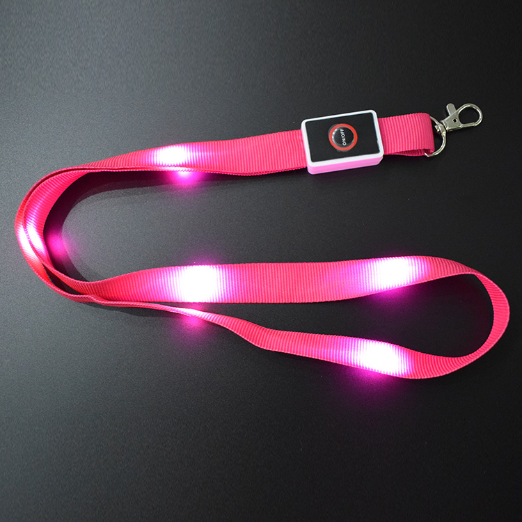 Nylon Neck strap Colorful Glowing LED Flashing Lanyard