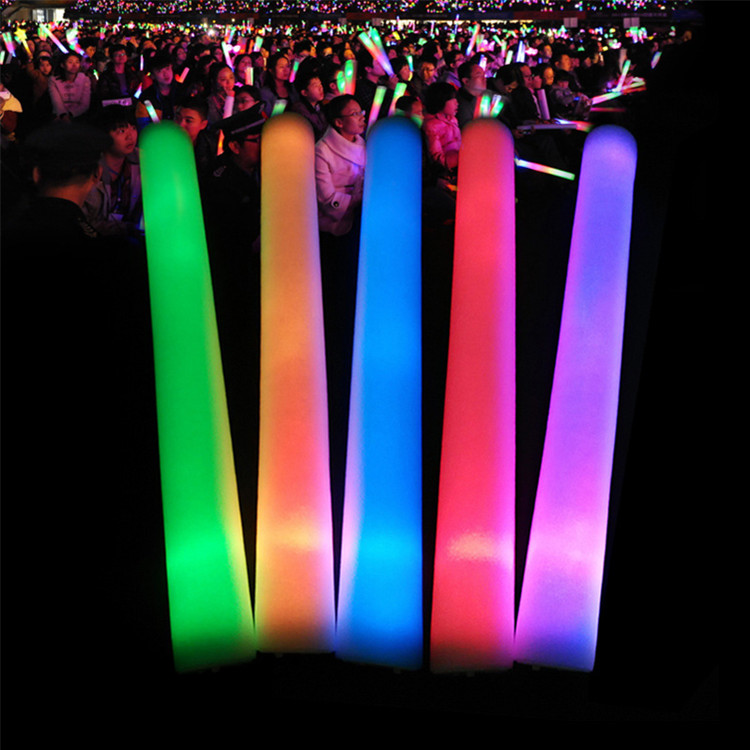 4*48 cm with shrink wrapping RGB concert cheering party event supplies led sponge foam stick